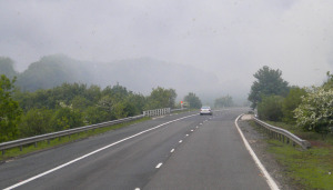 English road into fog